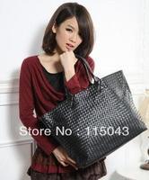 Free Shipping 2013 Ladies Handbags PU Leather Knitted Black Color Big Bag Guaranteed Fashion Women's Totes Mummy Bag
