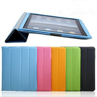 New Arrival Wholesale protective iPad 2/3/4 Smart Cover Slim Magnetic PU Leather Case Wake Sleep Stand Multi-Color, Freeshipping