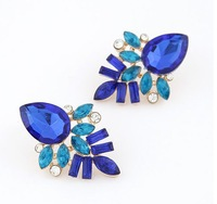 Europe Style Vintage Golden Plated Trendy Blue Gem Stud Earrings For Women Party Jewelry