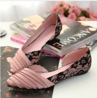Free shipping 2014 New arrival spring pink sexy lace pleated silk pointed toe flat heel single shoes princess women's shoes