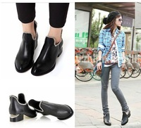 3t1 New arrival 2014 fashion vintage boots rivet chain british style small leather thick heels  shoes