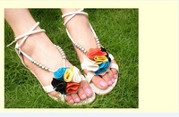 4t1 xg 2014 new arrival summer autumn Bohemian Women flat sandals slipper beads flower women's Flip Flops vintage triangle shoes