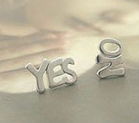 Min.order is $15 (mix order)Fashion Jewelry Vintage Novelty YES & NO Stud Earrings Retro Alloy Words Earring Brand New Earrings