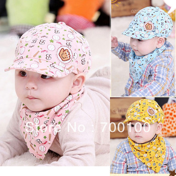 wholesale 2013 New spring and summer baby baseball cap cute kids hat,,infant lovely cricket-cap for 3-24month