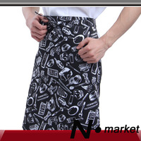 Free shipping cotton printing apron cooking restaurant black white dinnerware chef apron 2013