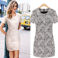 Free Shipping Casual Summer Dresses Elegant Lace Womens O-Neck Plus Size Mini White Cotton Vintage 2013 Brand New Dress LY121447