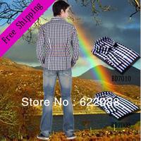 Fashion 2013  Casual Brand Gradient Plaid Cotton Shirt  Long-sleeved Slim Men Hot Sale Men's Clothing Free Shipping
