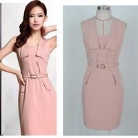 Free Shipping Summer Brand Women OL Slim Sleeveless Dress   PY-31016