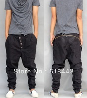 Free shipping Casual harem plus size male casual skinny pants  Collapse baggy pants black hip-hop trousers