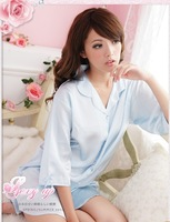 Hot-selling lady's sexy loose silk one piece nightgown women's viscose white shirt sleepwear sleep tops free shipping