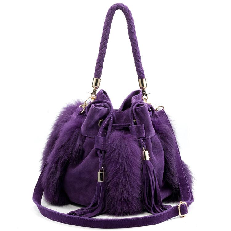2014 Women Pumpkin Bucket Fur Bag Purple One Shoulder Leather Bag Cross-body Tassel Women's Handbag(China (Mainland))