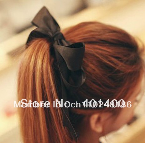 Fashion Layers Ribbon Large Bow Elastic Ponytail Hair Holder Women Hair Accessories Free Shipping Many Countries(China (Mainland))