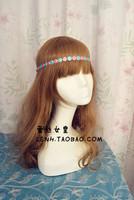 Romantic beautyful hand made Pink blue flower lace hair bands elastic headbands bridal wedding hair accessories for women