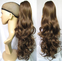 "Hot Selling 20"" Women's Ponytail Hair Extensions Hairpieces Synthetic Hair Wavy Ponytail Extensions #6/12 Highlights Brown"