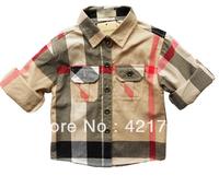 Free shipping 1piece boy apricot Plaid Cotton Long sleeve Shirt