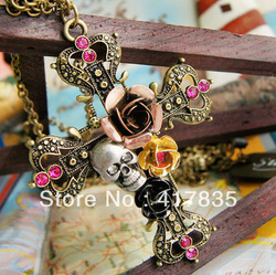 2013 fashion Free Shipping Brown Cross Pendants Necklace,Skull and flower necklace nd/ B1019(China (Mainland))