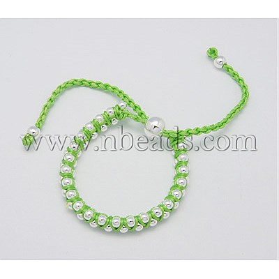 Fashion Friendship Bracelets, Handmade Bracelet, Nylon Thread with Alloy Beads, LawnGreen, Size: about 8mm in diameter(China (Mainland))