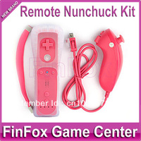 Remote and Nunchuck Controller With Silicone Case and Hand Strap for Wii (Pink)