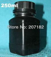 (100pcs/lot) 250ml/250g black color square HDPE bottle, jar,  powder bottle with inner cap