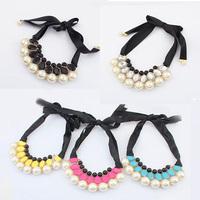 Europe elegant joker ribbon pearl gem choker necklace jewelry 2014 Fashion dress statement beaded bib necklace trend