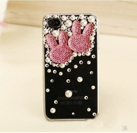 10pcs/Lot  New Hot Fashion  Rabbit head phone case cover  for iphone4 case diamond cell phone protection shell