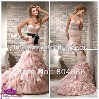 Coral-10 Sweetheart Off the shoulder mermaid puffleFloor-length Organza Lace Up 2015 Pink Wedding Dress