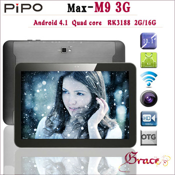 """IN STOCK! Pipo M9 3G Version 10.1"""" Capacitive Quad Core RK3188 2GB 16GB Android 4.1 OS Bluetooth Built-in 3g Tablet PC"""