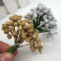 Free Shipping Wedding Party Decorative Flowers Box Decor Small Flowers 144pcs/lot, Gold, Silver