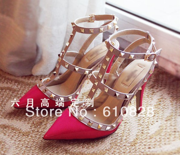 MISS JGEGE Store New arrive Candy color rivet point T with hollow out high-heeled women's shoes(China (Mainland))