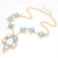 New Fashion Vintage Luxury Exaggerated Flower Rhinestone Pendant Blue Big Full Crystal Long Necklace Pendant
