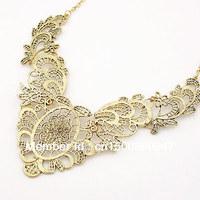 2014 New Items Vintage luxurious Gold Torque Necklace Collier hollow out Necklaces Pendants For Women choker Joyas Bijouterie