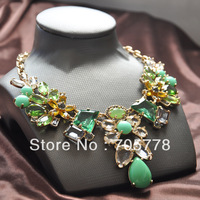 New Arrival Auth JC Limited Luxury necklace JC Mixed flowers Green and Clear Drop Crystal Stone Statement necklace