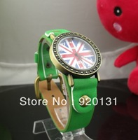 10pcs/lot WoMaGe UK Flag Pattern Watch Quartz Bronze Dial watches New uk Womage5234 watch Leather strap for Ladies YJP28