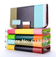 Fashion Wallet Case cover For iPhone 4 4S With Card Holder Stand Design Leather Case For iPhone +free screen Protector+touch pen
