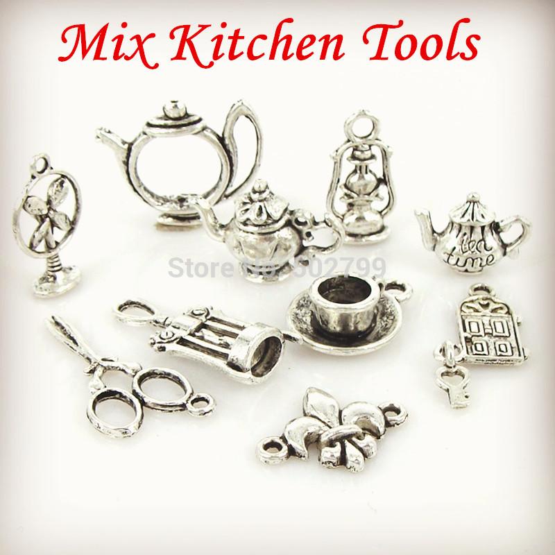 wholesale 30pcs or 60pcs/lot Tibetan Silver tone Mix scissors the cup fan anchors lamp teapot charms TS9864(China (Mainland))