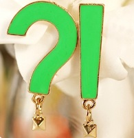 Min Order 12$ Vintage Question mark & exclamation mark stud Earrings Enamel Earring ES0336
