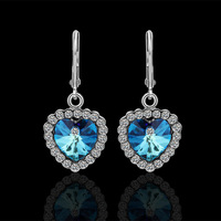 fashionable earrings Drops gold 18KGP with a blue stone earrings for women 2013 bohemia chandelier earrings austrian crystal