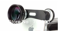 1 pcs/lot free shipping,&quot;S&quot; style Fish eye Macro 5x Super Telephoto 3 in 1 lens for iPhone 5 iPhone5,retail box,Valentine&#39;s gift