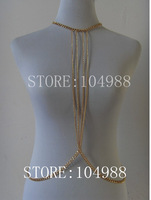 2013 FREE SHIPPING New arrival!Unique Design! Women Fashion Metal Gold Body Chain Jewelry Choker Bib Necklace For Party