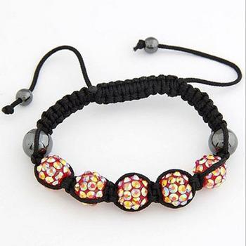 High Quality 2015 New Fashion Shambhala Style Handmade DIY Braid 5-Ball Simulated Pearl Bracelets Bangles for Women Ladies Blue