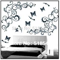 Free Shipping:1Set=2 Flowers Vines+5 Butterfliers Black 3D DIY Fashion PVC Home Wall Sticker Decor/Room Stickers Mural 90*120CM