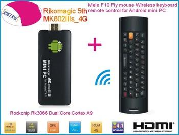 Rikomagic 5th MK802IIIs Android 4.1 mini PC TV Box RK3066 Cortex A9 1GB/4G [MK802IIIs/4G] + Mele F10 Fly Air Mouse