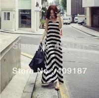 Summer new fashion women black and white striped sleeveless vest bohemia beach casual basic long floor length maxi dress