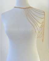 2013 FREE SHIPPING New arrival! Fashion Punk chain false collar necklace Metal gold Body shoulder Chain Jewelry