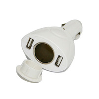 Free Shipping hot Dual USB Car Charger Adaptor for iPod iPhone 12V Outlet White