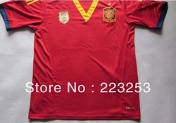 hoT!13/14 Spain Home mens Red Soccer Jersey shirt and shorts ,football kits+Embroidery Logo Soccer Uniforms(China (Mainland))