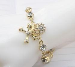 Ocean store jewelry wholesale New arrival hot sale skull bag charms rhinestone jewelry 2013(min order $10)(China (Mainland))