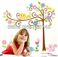 Room Decoration Cute Owl Tree Peel & Stick Wall Decal Kindergarten 40''*40in/100*100cm Wall Sticker Free Shipping