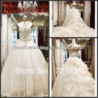 NP-03 Topsale New Arrival Real Made Sweetheart Luxurious Long Train Swarovski Beads Crystal Diamond Wedding Dresses 2013