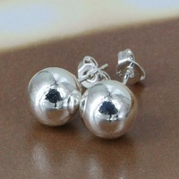 E074 Wholesale 925 silver earring 925 silver fashion jewelry earring 10M Bean Earrings